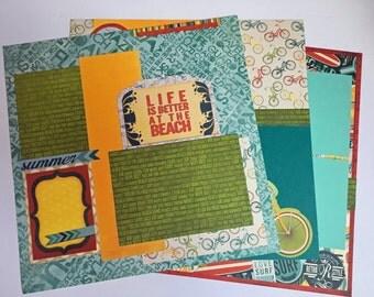 Premade Scrapbook Pages, Premade Scrapbook Layout, Summer Layout, Beach Layout, 12x12 Scrapbook Pages, 12x12 Scrapbook Layout, Premade Pages