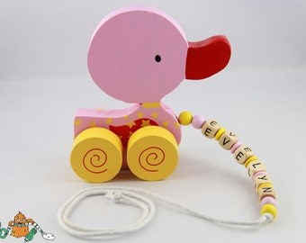 Ziehtier name - duck - pull duck - Nachziehtier - wood - pink - blue - yellow