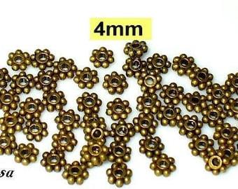 50 Pearl Daisy bronze 4mm, solid, flower (K107. 4.1)