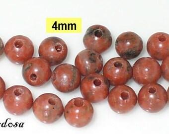 25 red Jasper beads 4mm (K702. 4)