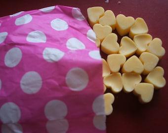Handmade Jasmine scented mini heart shaped mini soy wax melts x 50