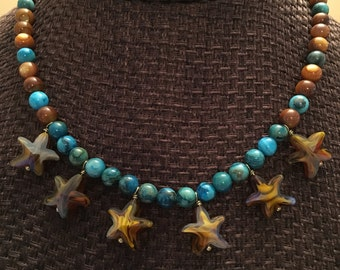 Brown Crystal Starfish Necklace