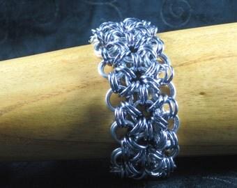 Magnificent Metals floral chainmaille bracelet
