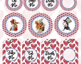Alice in Wonderland Queen of Hearts Tags, John Tenniel Illustrations, Round and Rectangular Tags, Through The Looking Glass Tags, Birthday