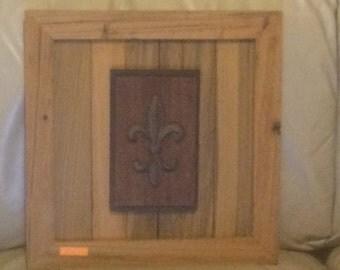 Custom Sinker Cypress Plaque with Cast Iron Fleur-di-Lis!