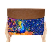 macbook air case leather sleeve envelope for apple ipad mini macbook air pro 11 12 13 15 peacock feather colorful watercolor