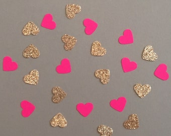 200 Pink and Gold Confetti Heart Confetti Glitter Confetti Shower Confetti Baby Confetti Wedding Confetti Birthday Confetti Bachelorette