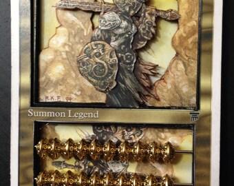 "3D MTG card, ""Dakkon Blackblade"", life counter, abacus-style, high quality"