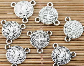 20pcs tibetan silver tone religious charm connector with 3loops EF1742