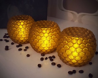 3D Printed Coffee Lantern with Tealight Set of 3