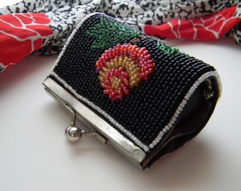 Art Deco Beaded Coin Purse Floral Motif - Vintage Art Deco Coin Purse Floral