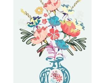 Haddon Roses A4 art print in blue