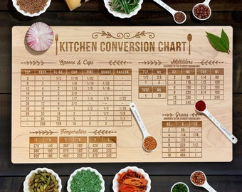 Measurement Conversion Chart Cutting Board, Housewarming, Special Occasion Gift Laser Engraved Maple Cutting Board CB00066