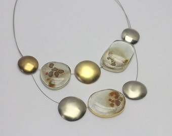 """Handmade mixed metal & glass necklace, """"Desert"""" metal and glass necklace"""