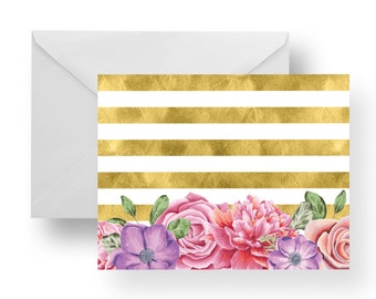 Note Cards Flowers + Gold Stripes (Set), stationery, note card set, stripe note cards, flower note cards, floral note cards