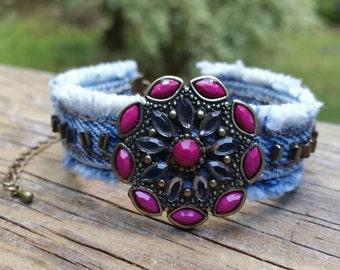 Fuchsia and Denim Bracelet