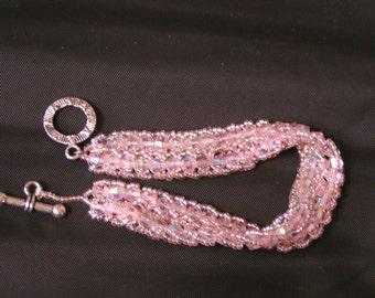 Baby Pink 7.5 inch Swarovski Crystal Bicone Double Spine w Toggle Clasp