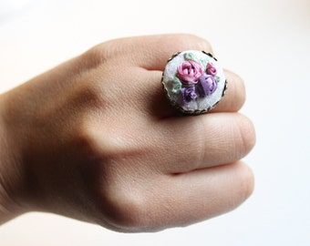 Hand Embroidered Adjustable Ring (Silk Ribbon Embroidery)