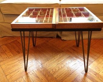 Mid century modern coffee table, repurposed typeset drawer, hairpin legs