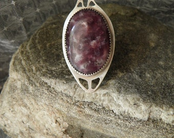 large sterling silver ring with lepidolite art nouveau inspired adjustable