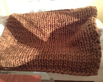 HAND KNITTED MERINO Wool Blanket Chunky Blanket cozy wool Blanket