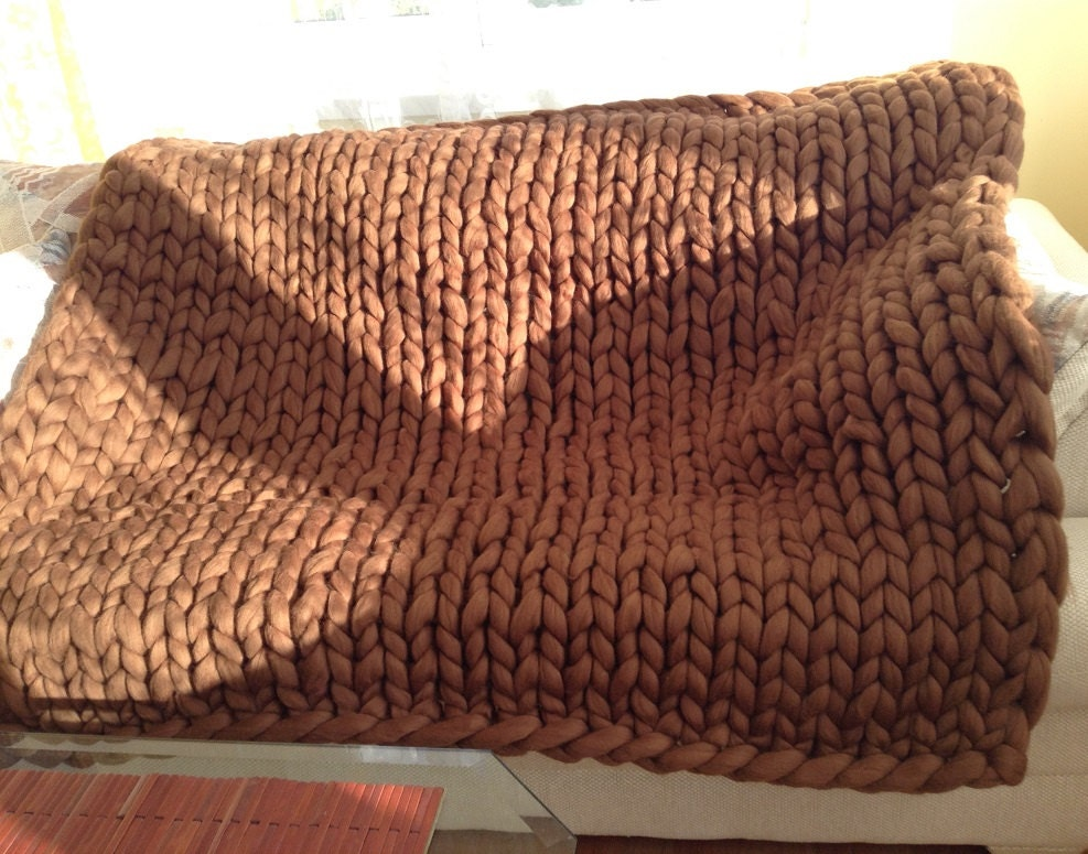 Hand Knitting Merino Wool Blanket : Hand knitted merino wool blanket chunky cozy