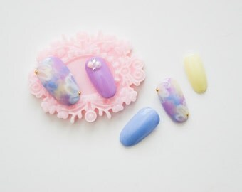 Pastel Floral Gradient Fake Nail Set Artificial Nails Japanese Gel Nails