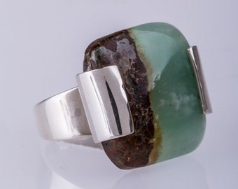 Chrysoprase Double Claw Ring