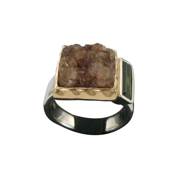 Brown Drussy and Green Tourmaline