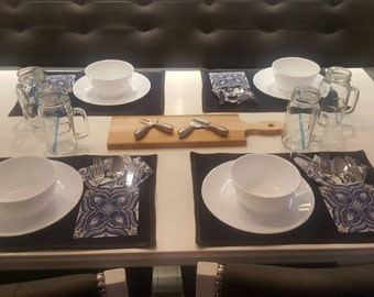 Fashion forward denim placemats with pocket and matching napkin
