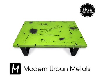 Modern Coffee Table, Urban Industrial Contemporary Loft Furniture, Commercial Retro Abstract Art, Metal Legs, Green, Black - FREE SHIPPING