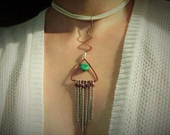 Boho necklace, fringe necklace, triangle necklace, leather necklace, choker necklace, chain necklace, fringe chain necklace, white choker