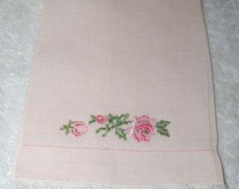 Vintage Fine Linen Pink Finger Towel with Lace & Applique