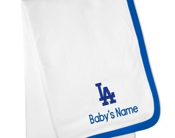 Personalized Los Angeles Dodgers Baby Blanket