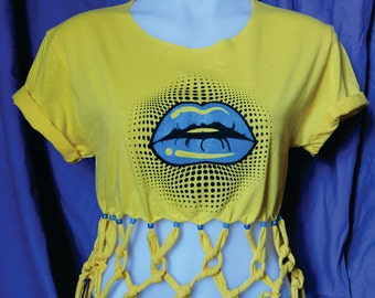 Knotted Fringe Shirt-Fringe top-Blue Lips Shirt-Lip Top-Lip Tee- Yellow Fringe Shirt-Lips Graphic Tee-Fashion Lips-Screen Printed-Blue Lips-