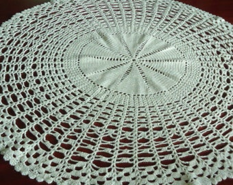 Crochet Doily Cream off white   Round Lace Doily  Crochet Table Topper  Centerpiece Textured Doily  Gift Idea.