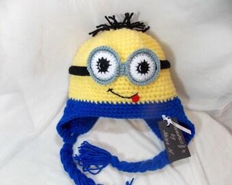 Minions hat crochet,funny hat,warm hat,crocheted baby hat