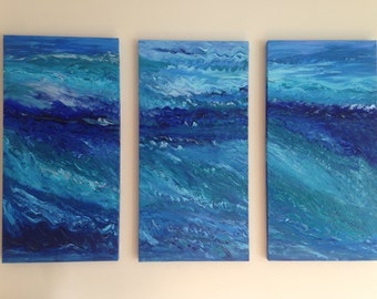 Wonder Waves, contemporary wave paintings, impressionism, modern art, nautical triptych