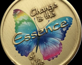Change Is The Essence Of Life Color Rainbow Butterfly Medallion Surrender Chip
