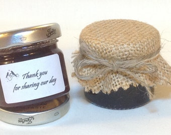 50 X jam Wedding favour HESSIAN lid top covers + twine/bands/labels X 50. 3 sizes avalible