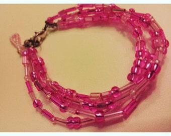 Breast Cancer awareness bracelet, cancer awareness, pink beaded bracelet, pink beaded jewelry, breast cancer, breast cancer jewelry