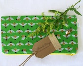 Busy Bee Green Wet Bag, Zipper Pouch, Make-up Bag, Pencil Case for the Perfectly Organized Purse, Backpack, Diaper Bag-honeybee, bumblebee