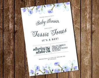 Printable Blue Sweet Pea Baby Shower Invitation [Digital file 5x7]