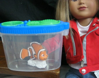 Aquarium with fish made for American Girl Doll / 18 inch doll accessories *pet fish**  fish tank