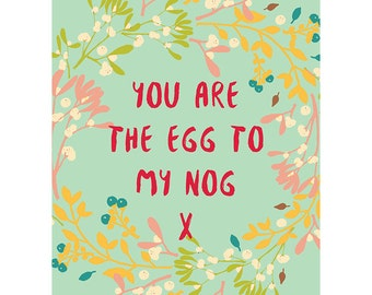 Christmas Card - Cute Egg Nog Typography Gift Xmas CP3092
