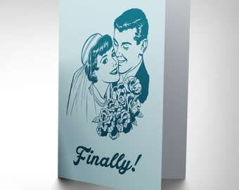Wedding Celebration Happy Couple Bride Groom Finally Art Greeting Card CP1674