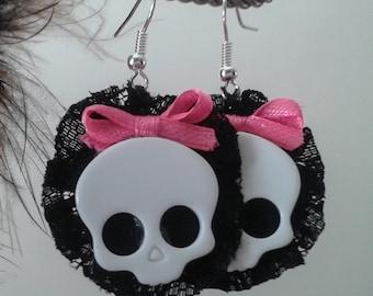 Lolita Skull Earrings. Cute. Sweet Lolita. Kawaii. Brand New. Handmade.