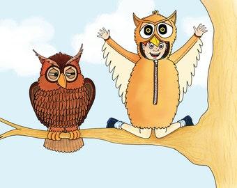 Owl card, owl birthday card, wildlife card, bird birthday card, blank card A5, hand drawn greetings card funny