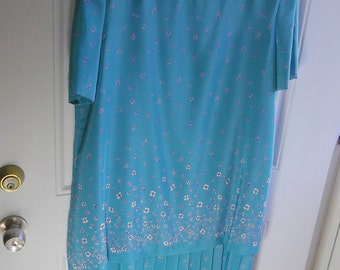 Turquoise Floral Dress by Leslie Fay, Size 14