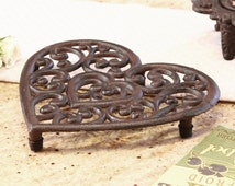 Cast Iron Heart Shaped Trivet, Kitchen Pan Rest, Worktop Saver, Country Style, 6th Wedding Anniversary Gift